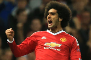 Manchester United's Marouane Fellaini celebrates scoring his side's third goal of the game against Club Brugge.