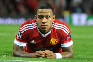 Manchester Uniteds Memphis Depay during the Champions League play-off round, first leg soccer match between Manchester United and Club Brugge at Old Trafford, Manchester, England, Tuesday, Aug. 18, 2015. (AP Photo/Rui Vieira)