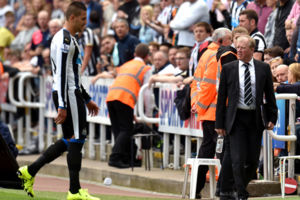 Newcastle United manager Steve McClaren (right) looks on as Newcastle United's Aleksandar Mitrovic leaves the pitch after being shown a red card during the Barclays Premier League match at St James' Park, Newcastle.