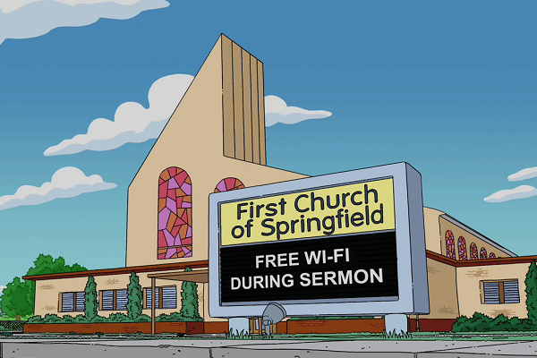 Image result for the simpsons church