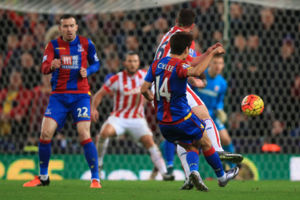 Crystal Palace's Chung-Yong Lee scores their second goal during the Barclays Premier League match at the Britannia Stadium, Stoke.