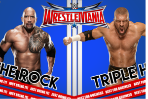the rock triple h wrestlemania
