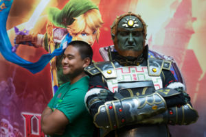 IMAGE DISTRIBUTED FOR NINTENDO - In this photo provided by Nintendo of America, from left, Uyq Nguyen poses with Andrew Hosking, dressed as Ganondorf, at an off-site event during PAX Prime 2014 on Saturday Aug. 30, 2014 in Seattle. Attendees dressed in th