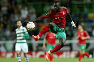 Lokomotivs Baye Oumar Niasse controls the ball during the Europa League group H soccer match between Sporting CP and Lokomotiv Moscow at the Alvalade stadium in Lisbon Thursday, Sept. 17, 2015. (AP Photo/Steven Governo)