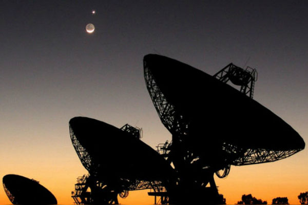 SETI dishes and moon