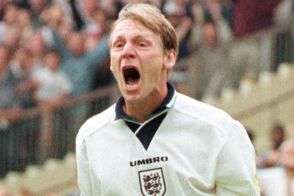 England's Stuart Pearce celebrates after scoring his penalty in a shootout against Spain which England won 4-2 during their European Soccer Championships quarter-final match at London's Wembley Stadium Saturday June 22, 1996. England advance to t