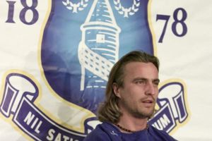 Everton football club unveil their latest signing, Frenchman David Ginola at a press conference at the club's training ground in Liverpool.  * 07/02/2003: Everton's David Ginola who it was revealed, Friday 7 February, 2003, is swapping football fo