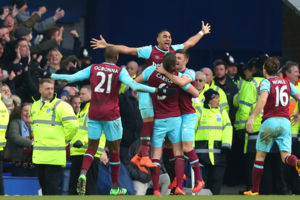 West Ham United's Dimitri Payet celebrates scoring the winning goal during the Barclays Premier League match at Goodison Park, Liverpool.