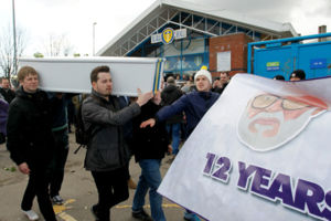 Leeds United fans organised Protest 'Time To Go Massimo' and white coffin outside Elland road