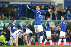 Everton's Ramiro Funes Mori celebrates victory after the Emirates FA Cup, Quarter Final match at Goodison Park, Liverpool.