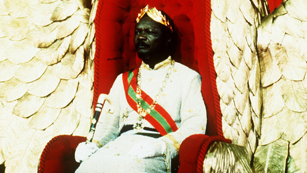 FILE 1977 -- Jean Bedel Bokassa, President of the Central African Republic, is pictured during his coronation ceremonies. Held in the indoor sports stadium in Bangui. After putting the crown on his head he read a proclaimation from the throne. With Bokass