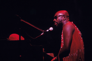 Singer, songwriter and pianist Isaac Hayes performs live