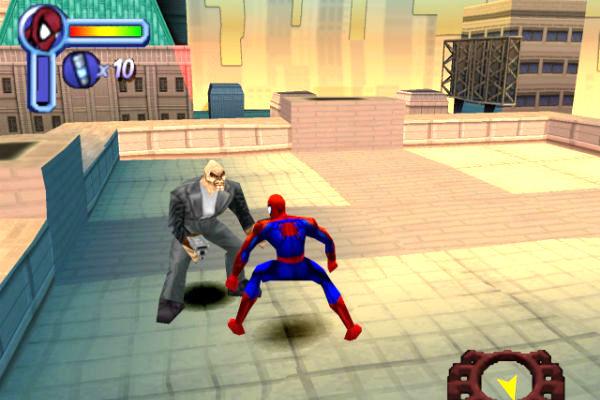 combat sur le toit dans spiderman dreamcast