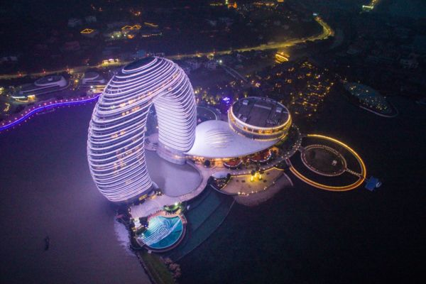 Sheraton Huzhou Hot Spring Resort resembles spaceship from aerial view