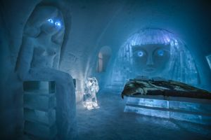 Illuminated Ice Hotel near Kiruna, Sweden