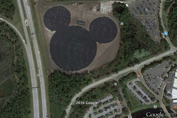 Hidden Mickey Solar Panels Disney World Google Earth