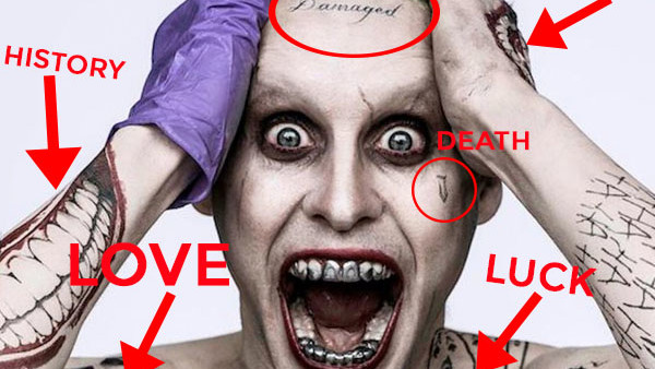 Suicide Squad Decoding All 16 Of Jared Leto\u0027s Joker Tattoos
