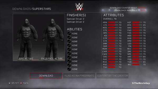 Harambe WWE 2K17 Stats