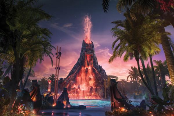 Universal Volcano Bay At Night