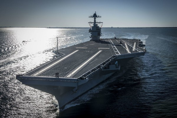 1280px Bow View Of USS Gerald R Ford (CVN 78) Underway On 8 April 2017