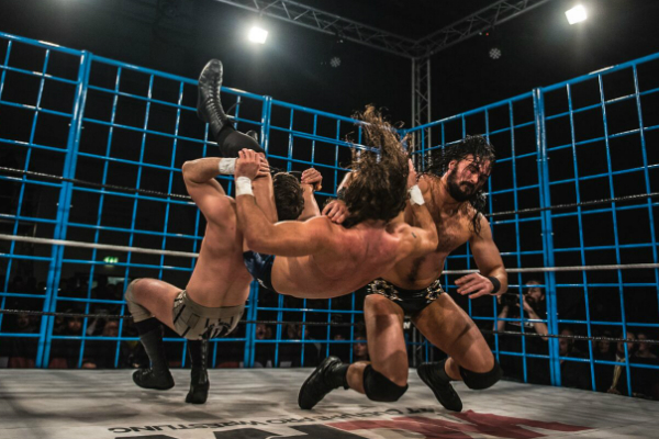 Joseph Conners, Joe Hendry and Drew Galloway battled inside a steel cage at DELETE WCPW.