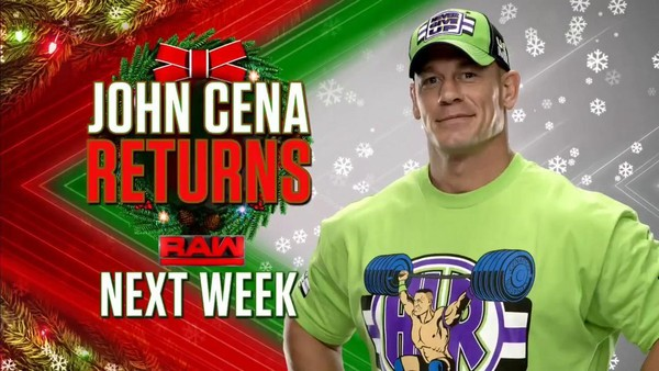 John Cena Returns Wwe Christmas Day Raw
