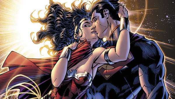 Superman Wonder Woman Space Kiss