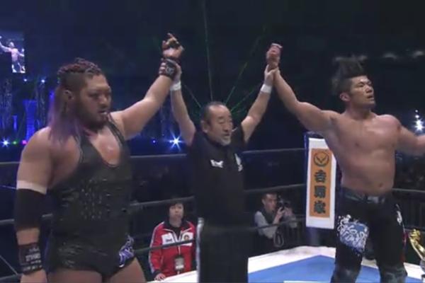 Risultati immagini per NJPW Wrestle Kingdom 12 EVIL and SANADA vs KES