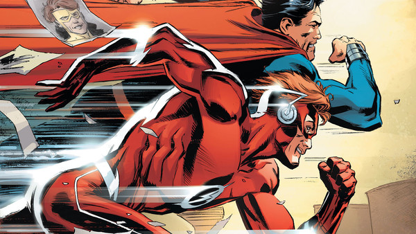 Flash Wally West Races Superman