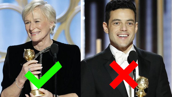 Golden Globes 2019 Glenn Close Rami Malek