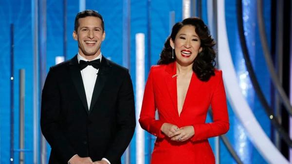 Golden Globes 2019 Andy Samberg Sandra Oh