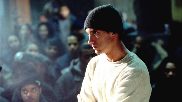 US rapper Eminem performing on stage during the MTV Europe Music Awards 2002, at the Palazzo Sant Jordi, Barcelona, Spain.