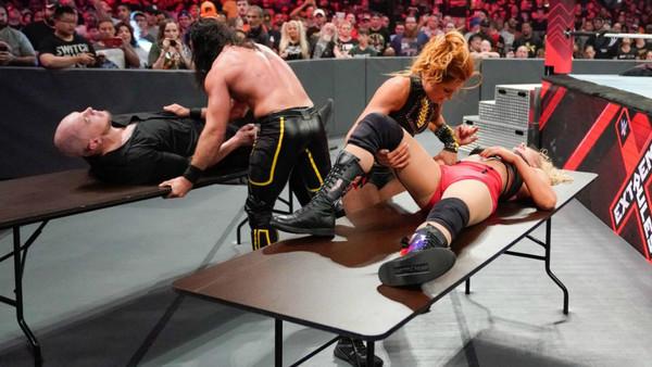 Becky Lynch Seth Rollins Baron Corbin Lacey Evans