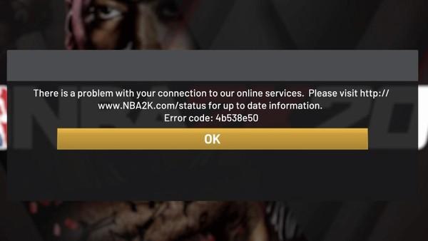 NBA 2K20 Error message