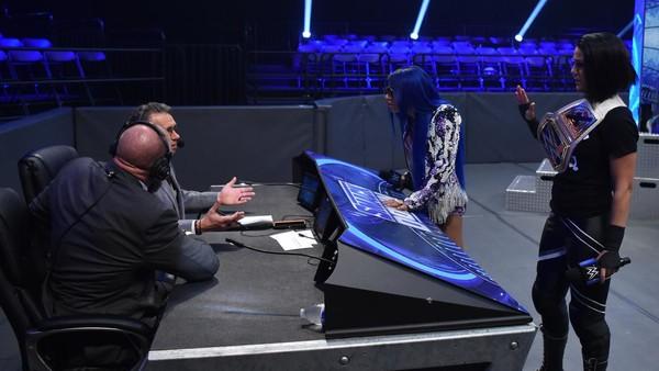 Bayley Sasha Banks Triple H Michael Cole