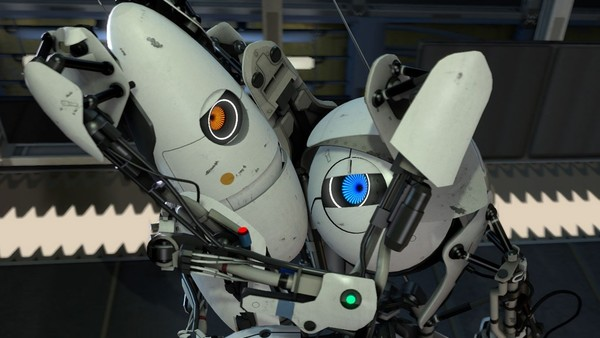 Portal 2 robots hug