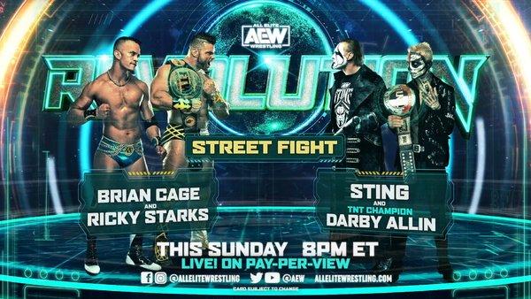 AEW Revolution 2021 Sting Darby Allin Brian Cage Ricky Starks